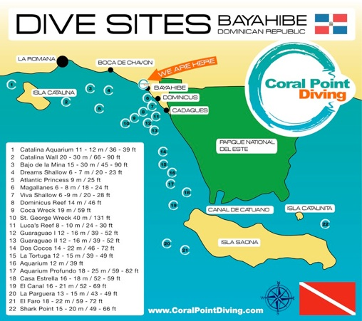 Dive Sites that Coral Point Diving dives in Bayahibe